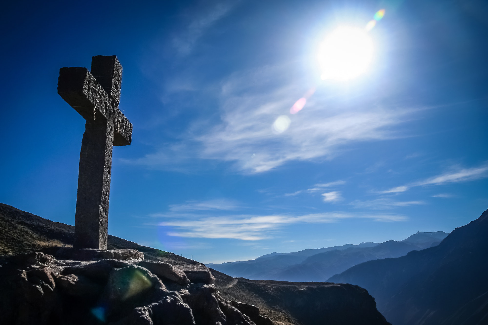 Cross in Colca Canyon in 秘鲁